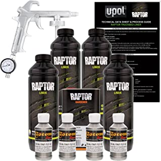 U-Pol Raptor Pewter Metallic Urethane Spray-On Truck Bed Liner Kit w/Free Spray Gun, 4 Liters