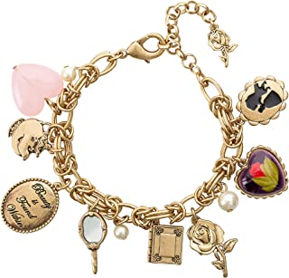 Danielle Nicole Antique Gold Tone Beauty and The Beast Charm Bracelet for Women, 7.5""