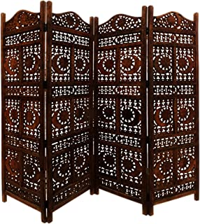 Benjara , Brown Hand Carved Sun And Moon Design Foldable 4-Panel Wooden Room Divider