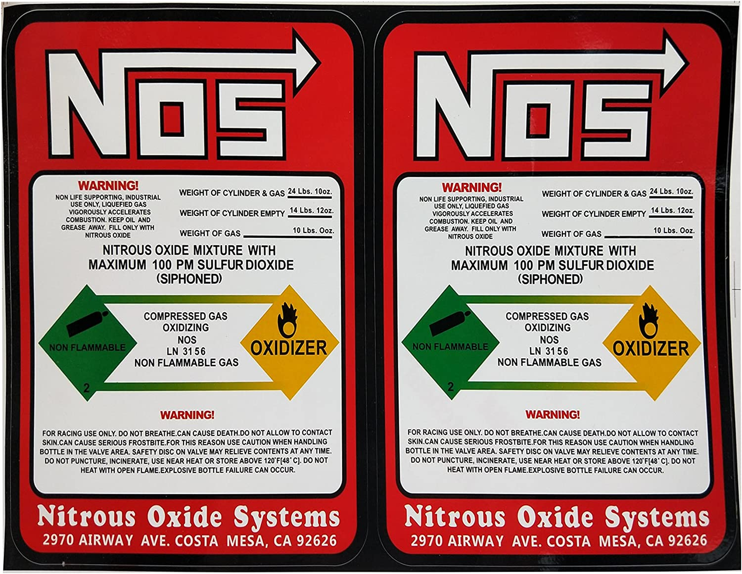 Dracary NOS Replacement 10LB Nitrous Bottle 2021 spring and summer new Label Sticker Decal Alternative dealer
