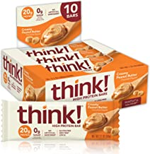 think! (thinkThin) High Protein Bars - Creamy Peanut Butter, 20g Protein, 0g Sugar, No Artificial Sweeteners, Gluten Free, GMO Free, 2.1 oz bar (10 Count - packaging may vary)