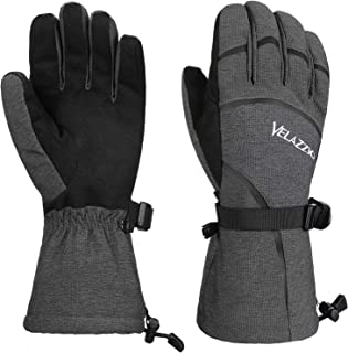 VELAZZIO Ski Gloves - Waterproof Breathable Winter Gloves, Eco Friendly Sustans Insulation Made with Dupont Sorona, Touchscreen Compatible Snowboard Gloves Men & Women (Model Eco Gray)