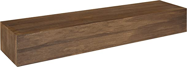 Kate and Laurel Boxx Floating Wooden Wall Mantel Shelf, 36 Inches, Rustic Brown