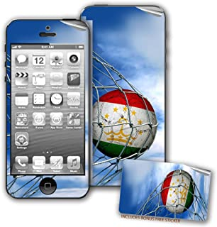Skin / Decal for iPhone 5/5S with Flag of Tajikistan - Soccer Ball in Net - Durable and long lasting