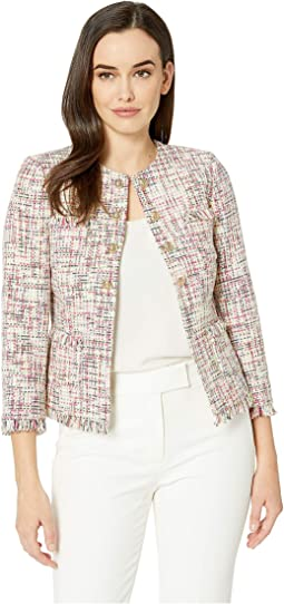 Boucle Tweed Open Jacket with Gold Button
