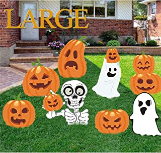 Kyerivs Halloween Yard Stake Signs Decoration Outdoor Family Friendly Pumpkins Skeleton Ghost Lawn Yard Party Decor Trick or Treat Halloween Props Extra Large 8pcs.