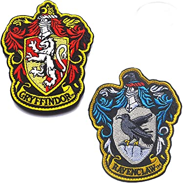 "Harry Potter House of Ravenclaw and Gryffindor Hogwarts Crest Full Color Fastener Hook & Loop Backing Emblem Embroidered Patches Set Appliques Badge for Coat Jacket Backpack Hat Cap 3.94""x3.15"" 2PCS"