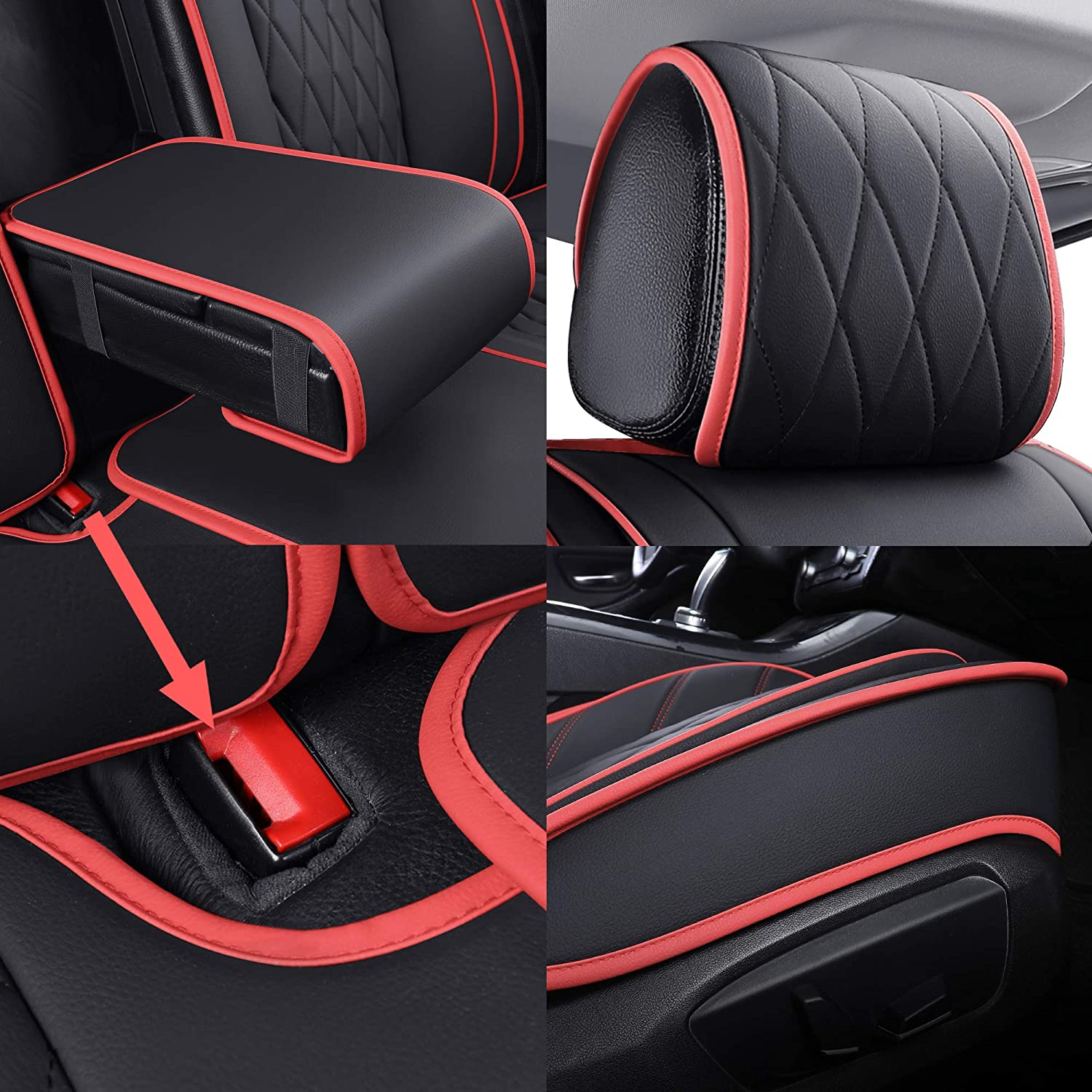 2 PCS Front, Black 2 Front Seat Covers for Cars Waterproof Leather ...