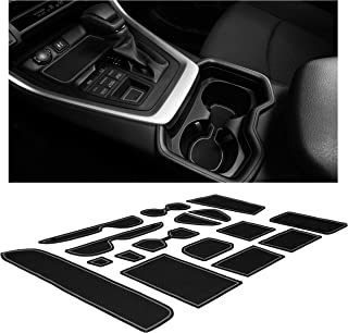CupHolderHero Compatible with Toyota RAV4 Accessories 2019-2021 Premium Custom Interior Non-Slip Anti Dust Cup Holder Inserts, Center Console Liner Mats, Door Pocket Liners 15-pc Set (Gray Trim)