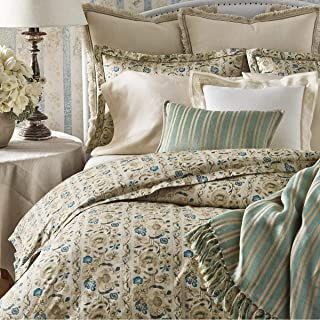 Ralph Lauren Constantina Collection Cassandra Floral Cotton Comforter, Full/Queen, Teal Cream
