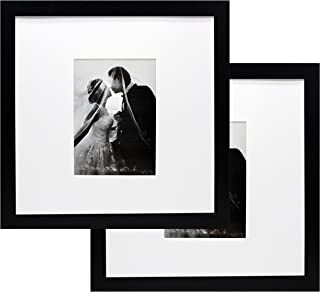 12x12 Black Wood Gallery Picture Frame with 5x7 Mat - Pack of Two Frames - Wide Molding - Great for Scrapbooking - Includes Both Attached Hanging Hardware and Desktop Easel - Display Pictures 12 x 12