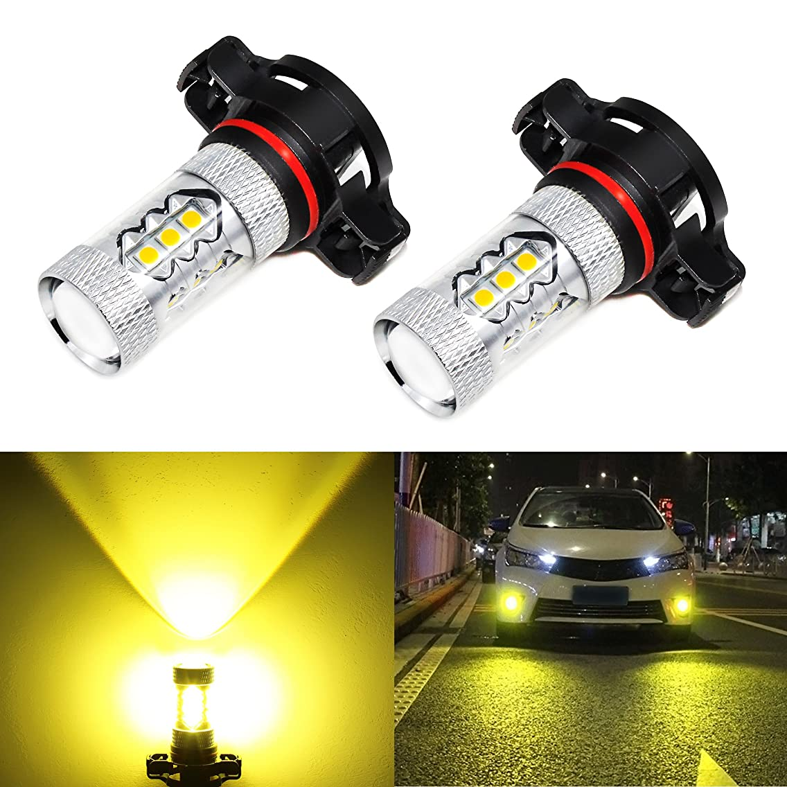 Phinlion 2000 Lumens Super Bright 3030 16-SMD Gold Yellow PSX24W 2504 LED Fog Light Bulbs for DRL or Fog Lights Replacement