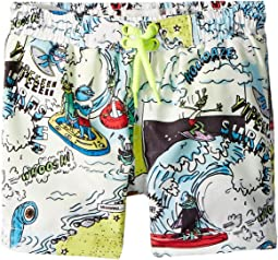 Taylor Cartoon Print Swim Shorts (Infant)