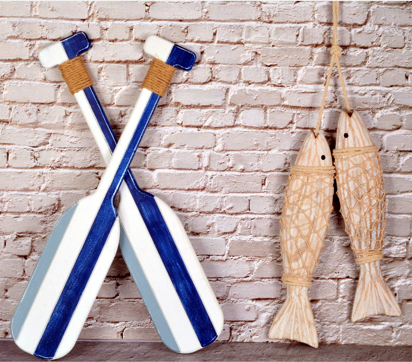 Wooden Oar Wall Decor and Antique Wood Fish Decor Ornament Wall Hanging,  Indoor Décor Beach House Paddle Nautical Decor,Wooden Fish Decorations for