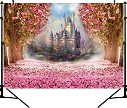 OUYIDA 7X5Ft Castle in Cherry Blossom CP Pictorial Cloth Photography Background Computer-Printed Vinyl Backdrop PCK01