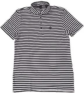 Men's Onyx Black/White Striped Cotton Lisle Spread Collar Polo Shirt