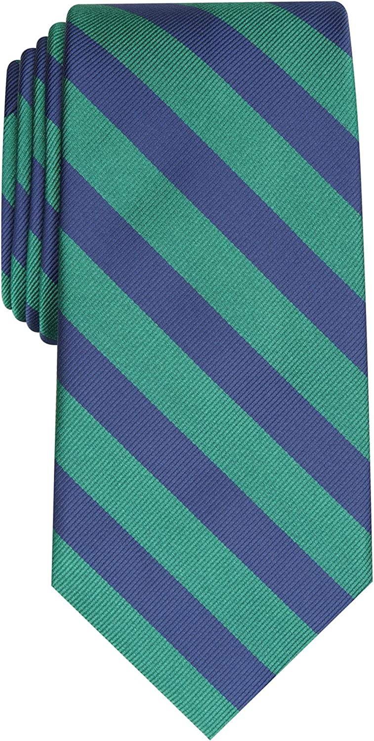 CLUBROOM Mens Green Awning Stripe Classic Neck Tie
