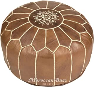 Moroccan Buzz UNSTUFFED Premium Leather Pouf Ottoman Cover, Natural Brown, Tan (UNSTUFFED Pouf)
