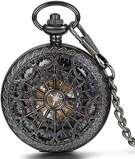 JewelryWe Montre de Poche Gousset Squelette Mécanique Manuel Rayure Toile d'Araignée Chiffres Romains Pendentif Collier Al...