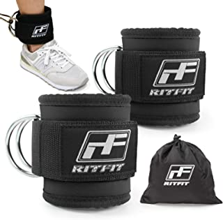 RitFit Fitness Padded Ankle Strap for Cable Machines - Reinforces Double D-Ring,  Adjustable Comfort fit Neoprene,  Ideal for Glute & Leg Workouts