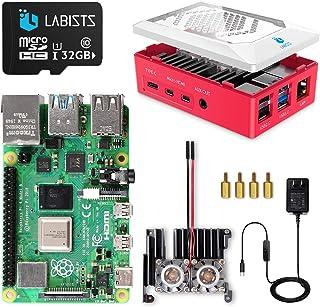 LABISTS Raspberry Pi 4 8GB(技適マーク入)MicroSDHCカード32G/Raspbianシステムプリインストール/アルミニウム合金ヒートシンク(ファン付き)/改良されたケース/カードリーダ /5.1V/3A Type...