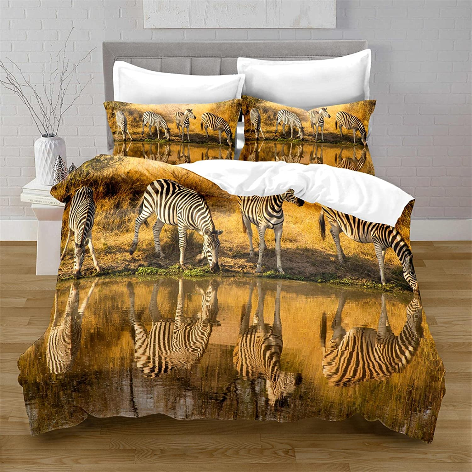HQHM Duvet Cover King 3 Pieces Zebra Animals Manufacturer direct Popular product delivery Yellow Forest 79X79
