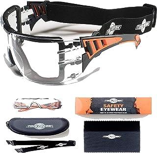 عینک ایمنی ToolFreak Rip-Out با کف پوش ، عینک محافظ با دید بهتر برای آقایان و زنان ، ضربه و محافظت در برابر اشعه ماوراء بنفش ، کیس و پارچه سخت (لنزهای پاک)
