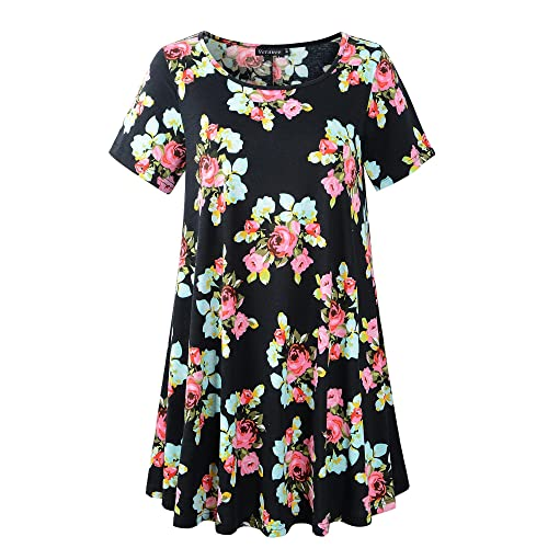 125bc3991 Veranee Women's Plus Size Swing Tunic Top 3/4 Sleeve Floral Flare T-Shirt