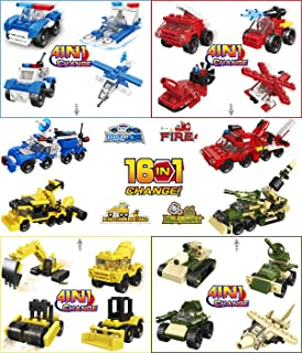 Cool Party Favors for Kids,Goodie Bags, Prizes, Birthday - Police,Military,Fire Truck,Construction Series Mini Toy Building Block Sets(16Pack,4In1&16In1)