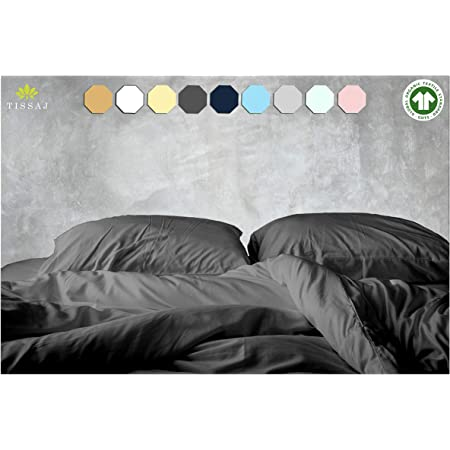 Queen Duvet covers - 500-Thread-Count Organic Cotton Duvet Cover - 500TC Queen & Full Size Smoke Gray - for Bedding - 100% GOTS Certified Extra Long Staple,Soft Sateen Weave Finish - Luxury Collection