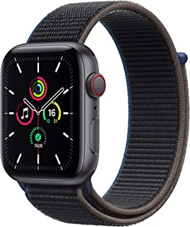 Apple Watch SE (GPS + Cellular, 44 mm) Caja de aluminio en gris espacial - Correa Loop deportiva en color carbón