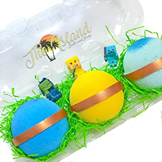 3 MINE CRAFTERS Surprise Bath Bomb Gift Set - XL 5.5 oz each-The Island Bath & Body-Made In USA- Shea & Cocoa Butter