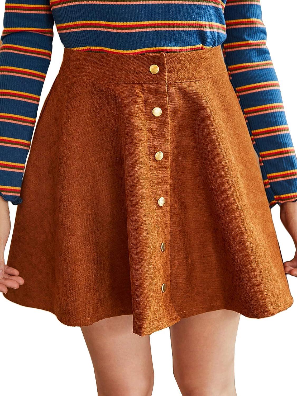 WDIRARA Women's Corduroy High Waist Button Front Casual Skater Mini Skirt