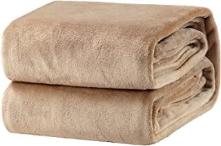 Bedsure Fleece Blanket Queen Size Taupe Lightweight Super Soft Cozy Beige Bed Blanket