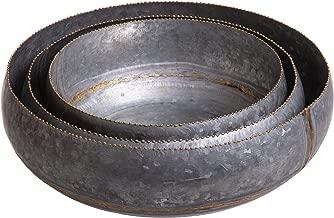 Red Co. Round Decorative Galvanized Metal Nesting Bowls, Home & Garden Planter Terrain Centerpiece Décor, Set of 3 Sizes