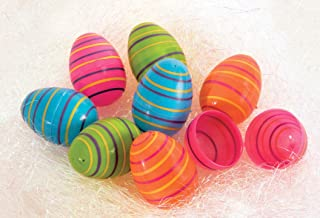 Forum Novelties 80047 Easter Plastic Eggs Striped, Multi (Pack of 8)