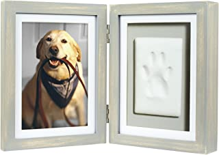 Pearhead Pet Pawprints Desk Picture Frame and Imprint Kit, Pet Owner Gifts, Distressed Gray