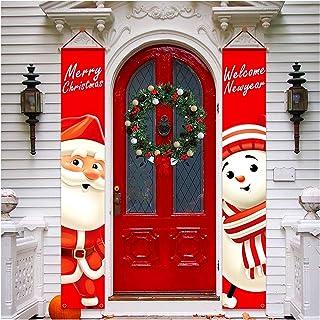 Décorations De Porche De Noël Bannière De Porte en Plein Air Décor De Noël Ensemble Porte D'entrée Joyeux Noël Signe pour ...