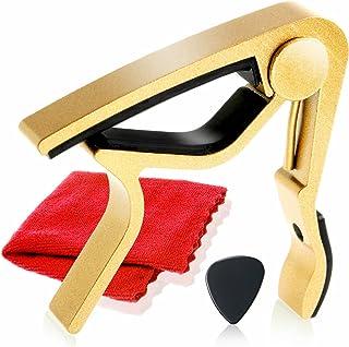 Phoenix ワンタッチ ギターカポタスト【type M】お手入れ用ファイバークロス/ピック/メーカー保証書<4点セット>Gold(ゴールド)