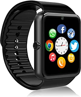 [Latest 2019] Smart Watch Compatible for iPhone 5s/6/6s/7/7s and Android 4.3 Above, Anti Lost and Pedometer Fitness Tracker - Black