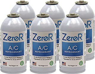 ZeroR AC Refrigerant 6 Cans - Better Than R134a - Made in USA - Natural Non Ozone Depleting