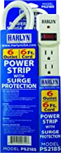 Best Power Strip Surge Protector - Top Extension Cord - 6 Outlets - 6 ft cord - 1875W - 600 Joules by Harlyn