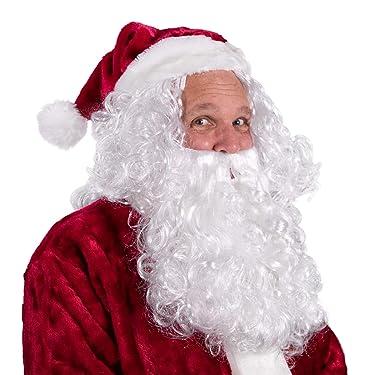 Boo Inc. Santa Beard & Wig   Christmas & Halloween Wizard Costume Accessory, White, One Size