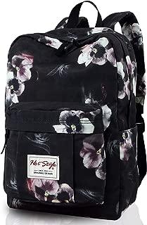 599s Trendy Floral School Backpack College Bookbag, 17.3x11.8x5.9in