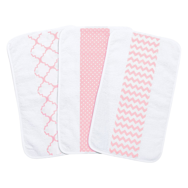 Pink Sky 3 Pack Jumbo Burp Cloth Set