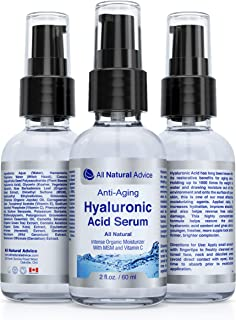All Natural Advice Hyaluronic Acid Serum (60ml) – Anti Aging and Anti Wrinkles | Intense Organic Skin Moisturizer with MSM and Vitamin C