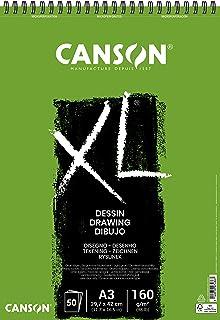 Canson Bloc dessin XL - Grain léger - 160g/m², 50feuilles par bloc - Spirale sur le côté court - Blanc 297 x 432 mm weiß