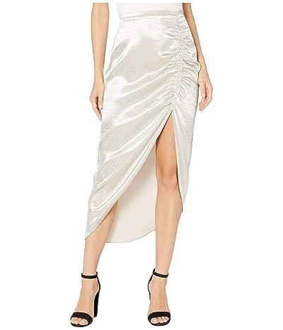BB Dakota Shiny Dancer Tumbled Satin Ruched Skirt (Silver) Women