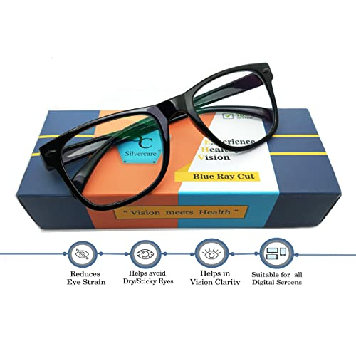 3cbebb3a6 SILVERCARE Blue Ray Cut UV420 and Anti-reflection unisex Wayfarer Computer  Protection spectacle