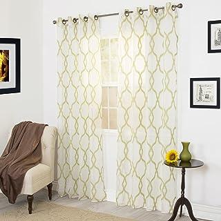 Lavish Home Elisa Emboidered Curtain Panel - 84 Inch - Green